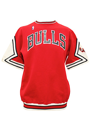 Late 1980s Chicago Bulls Team-Issued Warm-Up Jacket & Shooting Shirts (2)