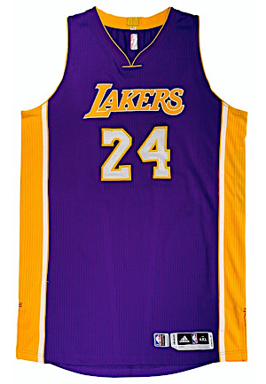 2014-15 Kobe Bryant Los Angeles Lakers Game-Used Road Jersey (Photo-Matched To Multiple Games & Graded 10)