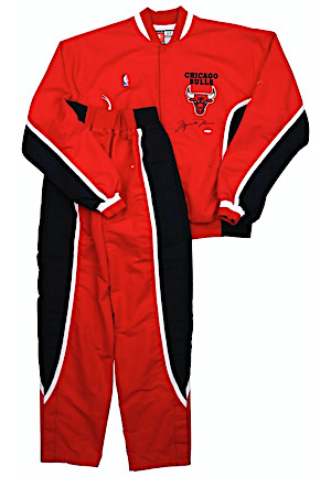 1997-98 Michael Jordan Chicago Bulls Player-Worn & Autographed Warm-Up Suit (UDA • Full JSA & MEARS • Championship & MVP Season)