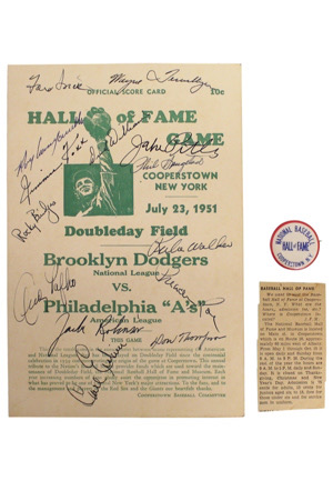 1951 Hall Of Fame Game Scorecard Signed By Jackie Robinson, Jimmie Foxx, Roy Campanella & Others With Hall Of Fame Pin (2)(Full PSA/DNA)