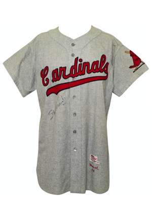 1956 Stan Musial St. Louis Cardinals Game-Used & Autographed Road Flannel Jersey (Photo-Matched & Graded 10 • Rare One Year Style • PSA/DNA • Full JSA)