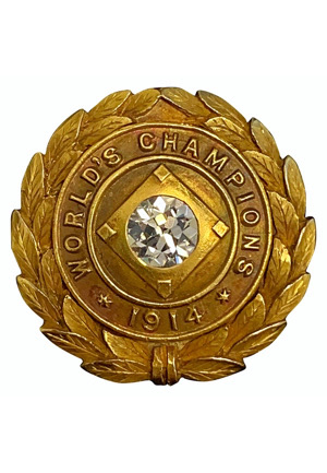 "1914 Boston Braves ""Miracle"" World Championship Pin Presented to Team Owner James E Gaffney (MINT • Hobby Fresh • Family LOA • Very Scarce)"