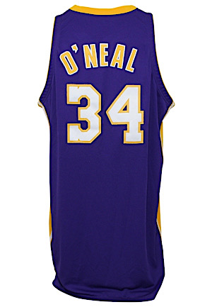 1999-00 Shaquille ONeal Los Angeles Lakers Game-Used Road Jersey (Sourced From Assistant Coach • Wilt Armband • MVP & Championship Season)